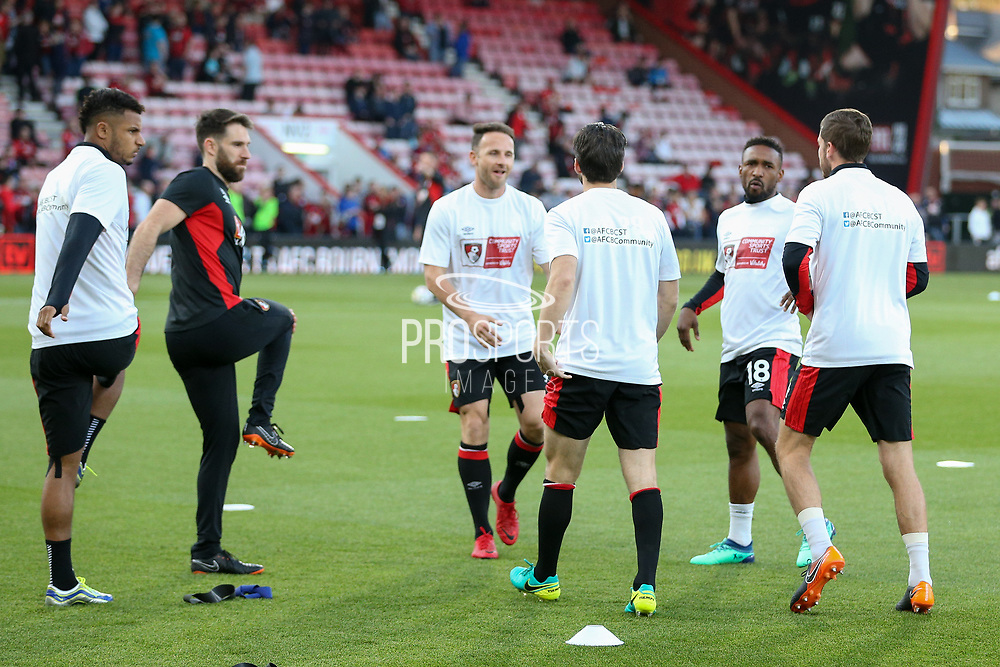 Bournemouth players including Jermain Defoe (18) of AFC Bournemouth warm up during the Premier League match between Bournemouth and Manchester United at the Vitality Stadium, Bournemouth, England on 18 April 2018. Picture by Phil Duncan.