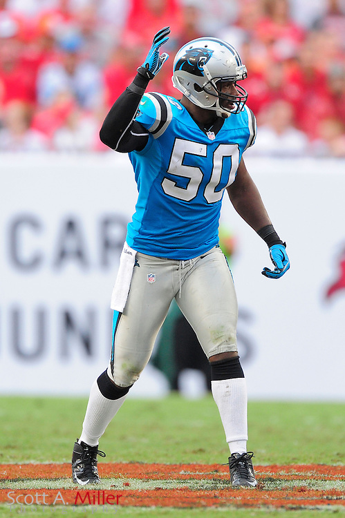 Carolina Panthers linebacker James Anderson (50) during the Panthers game against the Tampa Bay Buccaneers at Raymond James Stadium  on September 9, 2012 in Tampa, Florida.  The Bucs won 16-10..©2012 Scott A. Miller...