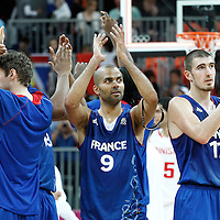 04 August 2012: Tony Parker and Nando De Colo thanks the fans following 73-69 Team France victory over Team Tunisia, during the men's basketball preliminary, at the Basketball Arena, in London, Great Britain.
