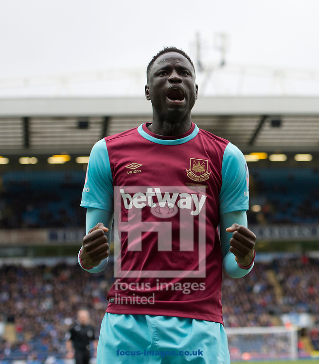 Cheikhou Kouyate of West Ham United celebrates after his team takes a 3-1 lead during the FA Cup match at Ewood Park, Blackburn<br /> Picture by Russell Hart/Focus Images Ltd 07791 688 420<br /> 21/02/2016