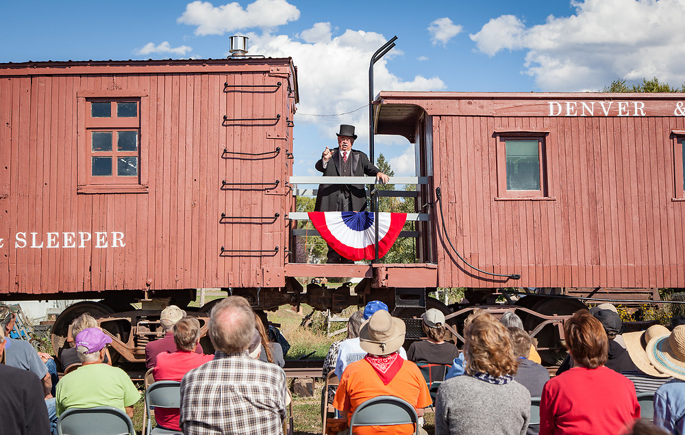 Don Moon portrays Theodore Roosevelt before a crowd at All Aboard Westcliffe during the Wet Mountain Western Pilgrimage.