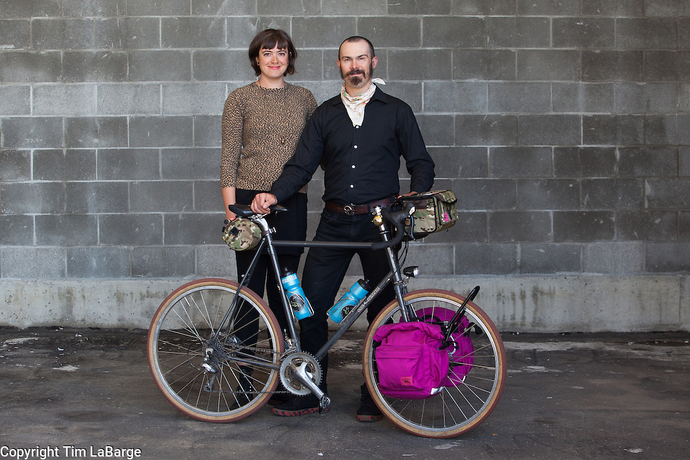 Martina Brimmer and Jason Goodman of Swift Industries at the Handmade Bike and Beer Festival at Hopworks Urban Brewery in Portland, Oregon. Image by Tim LaBarge