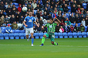 AFC Wimbledon striker Lyle Taylor (33) shoots at goal during the EFL League 1 match between Peterborough United and AFC Wimbledon at ABAX Stadium, London Road, Peterborough, England on 22 October 2016. Photo by Stuart Butcher.