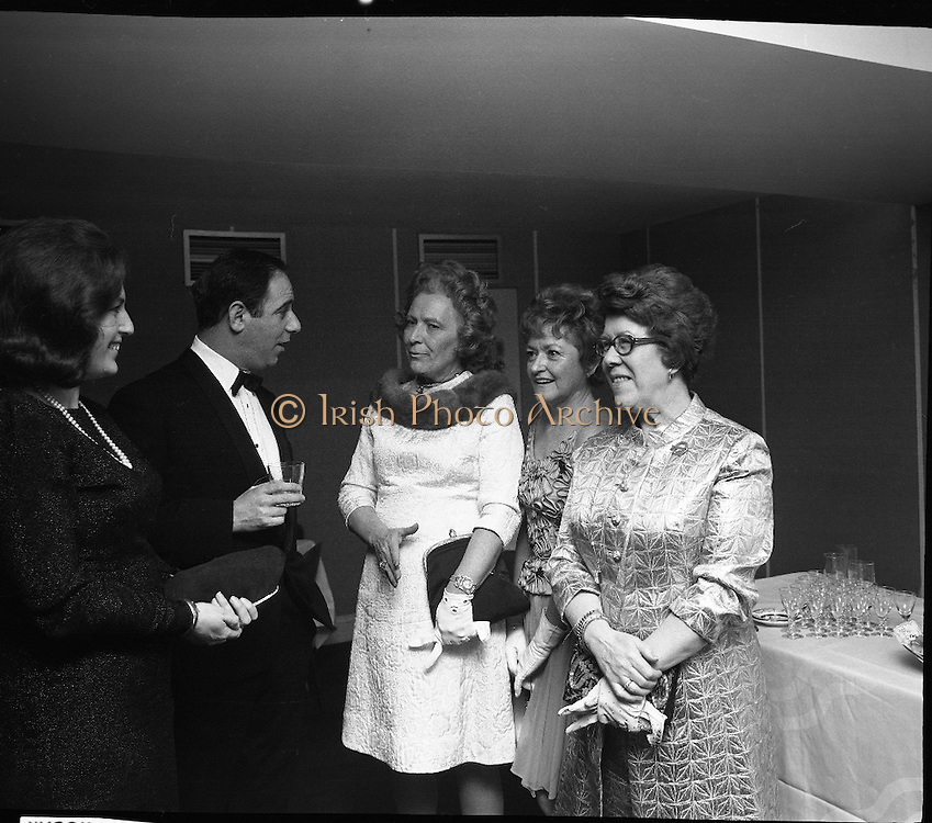 St Patrick's Day Ball, The Gresham Hotel.1971..17.03.1971..03.17.1971..17th March 1971..To celebrate our National Day a ball was held in the Gresham Hotel,Dublin. Mr Ben Briscoe T.D. (Fianna Fail) was on hand to greet the visitors to our shores..Photographed at the Ball were (L-R), Mrs Ben Briscoe, Mr Ben Briscoe T.D. Mrs J.F.Carroll,Washington, Mrs Grace Monaghan,Wiesbaden,Germany and Mrs J.A.Ryan ,London.