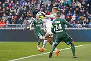 Goal Mariano Diaz of Lyon and Loïc Perrin of Saint Etienne during the French Championship Ligue 1 football match between Olympique Lyonnais and AS Saint-Etienne on february 25, 2018 at Groupama stadium in Décines-Charpieu near Lyon, France - Photo Romain Biard / Isports / ProSportsImages / DPPI