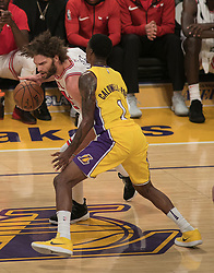 November 21, 2017 - Los Angeles, California, United States of America - Robin Lopez #42 of the Chicago Bulls  tries to drive past Kentavious Caldwell-Pope #1 of the Los Angeles Lakers during their game on Tuesday November 21, 2017 at the Staples Center in Los Angeles, California. Lakers defeat Bulls, 103-94. JAVIER ROJAS/PI (Credit Image: © Prensa Internacional via ZUMA Wire)