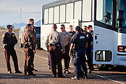 28 JANUARY 2010 -- BUCKEYE, AZ: Department of Corrections officers and Federal ICE officers talk about the transfer of undocumented immigrant prisoners to ICE control. The Arizona Department of Corrections transferred 51 undocumented immigrant inmates from state control to the Immigration and Customs Enforcement at Lewis Prison in Buckeye Thursday morning. The inmates have less than 90 days left on their sentences and will be deported to their countries of origin when they finish their prison terms.  PHOTO BY JACK KURTZ
