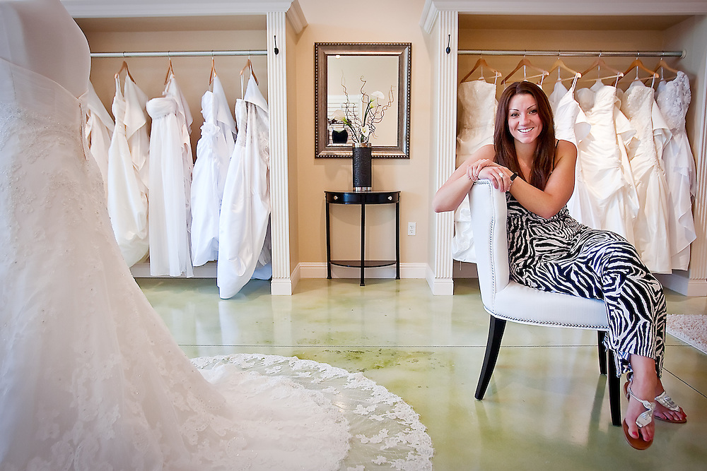 JEROME A. POLLOS/Press..Sarah Bligh is owner of Rianne's Bridal in the Hayden Creek Plaza on Government Way which opens Friday.