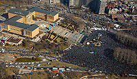 Aerial view of fans gathered at Art Museum at the start of Philadelphia Eagles Super Bowl Victory Parade  on February 8, 2018 .