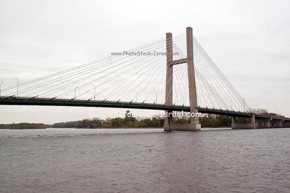 Iowa USA, A suspension bridge over the Mississippi between Burlington, IA and Gulf Port, IL