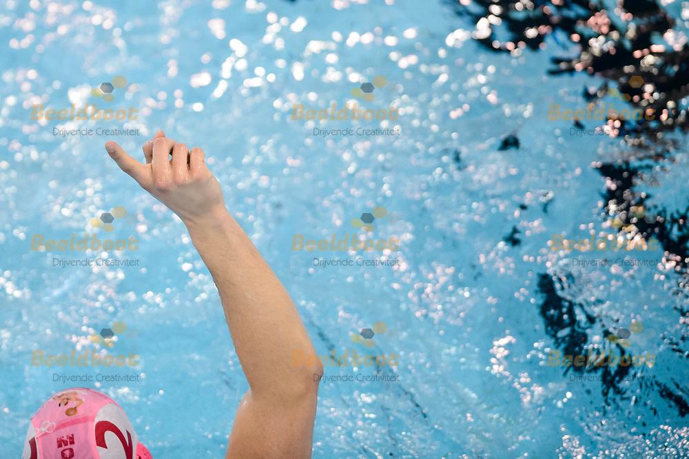 11-03-2018: Waterpolo: Mannen De Zijl v AZC: Den Haag<br /> <br /> (L-R) Filip Coric van AZC Moscow tijdens KNZB bekerfinale tussen heren AZC Moscow en De Zijl Zwemsport in het Hofbad in Den Haag<br /> <br /> KNZB beker heren - Seizoen 2017 / 2018<br /> <br /> Foto: Gertjan Kooij
