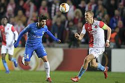 February 14, 2019 - Prague, CZECH REPUBLIC - Genk's Alejandro Pozuelo and Slavia's Milan Skoda fight for the ball during a soccer game between Czech club SK Slavia Praha and Belgian team KRC Genk, the first leg of the 1/16 finals (round of 32) in the Europa League competition, Thursday 14 February 2019 in Prague, Czech Republic. BELGA PHOTO YORICK JANSENS (Credit Image: © Yorick Jansens/Belga via ZUMA Press)