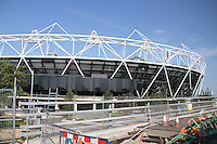London 2012 Olympic Park Olympic Stadium - One year to go before the start of the London 2012 Olympic Games and the Olympic Park nears completion. London, UK, 30 July 2011:  Contact: Rich@Piqtured.com +44(0)7941 079620 (Picture by Richard Goldschmidt)