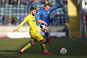 George Francomb challenges Matty Done during the EFL Sky Bet League 1 match between Rochdale and AFC Wimbledon at Spotland, Rochdale, England on 17 March 2018. Picture by Daniel Youngs.