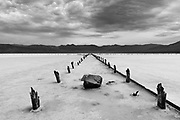 Saline Valley salt mine pier ruins. This salt mine in Death Valley National Park operated in the early 1900's
