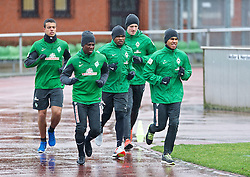 06.01.2014, Weserstadion, Bremen, GER, 1. FBL, SV Werder Bremen, Training, im Bild von links, Franco Matías Di Santo / Franco Matias Di Santo (SV Werder Bremen #9), Eljero Elia (SV Werder Bremen #11), Cedrick Makiadi (SV Werder Bremen #6), Richard Strebinger (SV Werder Bremen #30), Theodor Gebre Selassie (Bremen #23) beim Laktattest // von links, Franco Matías Di Santo / Franco Matias Di Santo (SV Werder Bremen #9), Eljero Elia (SV Werder Bremen #11), Cedrick Makiadi (SV Werder Bremen #6), Richard Strebinger (SV Werder Bremen #30), Theodor Gebre Selassie (Bremen #23) beim Laktattest during the training session of the German Bundesliga Club SV Werder Bremen at the Weserstadion in Bremen, Germany on 2014/01/06. EXPA Pictures © 2014, PhotoCredit: EXPA/ Andreas Gumz<br /> <br /> *****ATTENTION - OUT of GER*****
