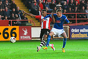 Ollie Watkins (14) of Exeter City battles for possession with Gary Liddle (28) of Carlisle United during the EFL Sky Bet League 2 play off second leg match between Exeter City and Carlisle United at St James' Park, Exeter, England on 18 May 2017. Photo by Graham Hunt.
