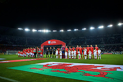 TBILSI, GEORGIA - Friday, October 6, 2017: Wales players line-up for the national anthem before the 2018 FIFA World Cup Qualifying Group D match between Georgia and Wales at the Boris Paichadze Dinamo Arena. captain Ashley Williams, goalkeeper Wayne Hennessey, James Chester, Joe Allen, Andy King, Sam Vokes, Ben Davies, Tom Lawrence, Joe Ledley, Chris Gunter, captain Ashley Williams. (Pic by David Rawcliffe/Propaganda)