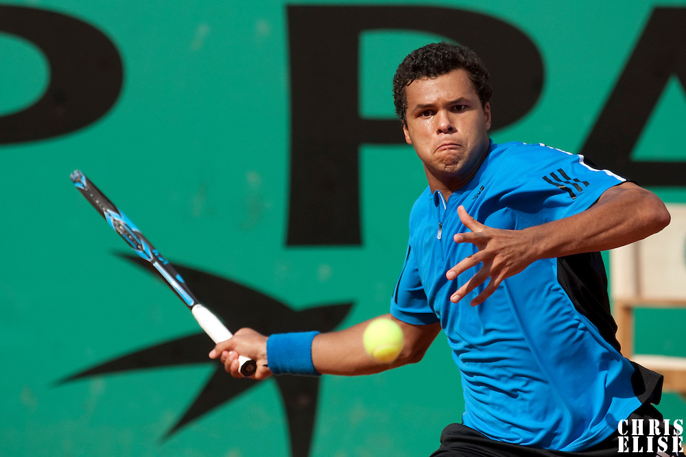 1 June 2009: Jo Tsonga of France eyes the ball as he prepares a forehand during the Men's Single Fourth Round match on day nine of the French Open at Roland Garros in Paris, France.