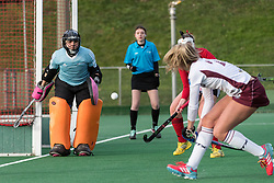 Southgate's Jess Hudson save a shot from Kate Maxey of Wimbledon. Southgate v Wimbledon - Investec Women's Hockey League East Conference, Trent Park, London, UK on 25November 2017. Photo: Simon Parker