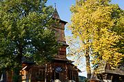 Exterior of the wooden Church of St. Kazimierz (built 1910-1916), on 17th September 2019, in Koscielisko, Zakopane, Malopolska, Poland.
