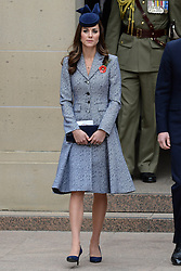 The Duke and Duchess of Cambridge attend the ANZAC March and Commemorative Service and lay a wreath before planting a 'Lone Pine' tree in the Memorial Garden, as part of their tour of New Zealand and Australia, in Canberra, Australia, on the 25th April 2014. Picture by James Whatling/ i-Images