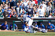 CHICAGO, IL - MAY 17: Anthony Rizzo #44 and Welington Castillo #53 of the Chicago Cubs collide trying to catch a foul ball against the New York Mets during the game on May 17, 2013 at Wrigley Field in Chicago, Illinois. The Mets won 3-2. (Photo by Joe Robbins)
