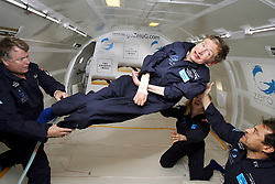 Physicist Stephen Hawking experiences a very weight moment during a flight on Zero Gravity jet, near Florida on April 26, 2007. Photo by Zero G via Balkis Press/ABACAPRESS.COM  | 121247_01 Orlando