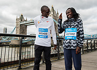 Eliud Kipchoge KEN and Mary Keitany KEN winners of the Abbott World Marathon Majors Series XI at a photocall and press conference at the Guoman Tower Hotel for the winners of the Virgin Money London Marathon, 23 April 2018.<br /> <br /> Photo: Thomas Lovelock for Virgin Money London Marathon<br /> <br /> For further information: media@londonmarathonevents.co.uk