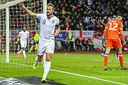 Goal England forward Harry Kane scores a goal and celebrates 0-2 during the UEFA European 2020 Qualifier match between Kosovo and England at the Fadil Vokrri Stadium, Pristina, Kosovo on 17 November 2019.