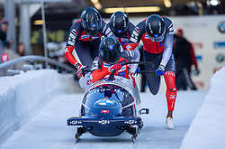 19.01.2020, Olympia Eiskanal, Innsbruck, AUT, BMW IBSF Weltcup Bob und Skeleton, Igls, Bob Viersitzer, Herren 2. Lauf, im Bild Pilot Timo Rohner mit Costantini Uhgi, Alex Verginger, Lorenzo Bilotti (CH) // Pilot Timo Rohner with Costantini Uhgi Alex Verginger Lorenzo Bilotti of Switzerland during their 2nd run of four-man Bobsleigh competition of BMW IBSF World Cup at the Olympia Eiskanal in Innsbruck, Austria on 2020/01/19. EXPA Pictures © 2020, PhotoCredit: EXPA/ Peter Rinderer