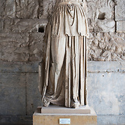 Cult statue of Apollo Patroos. 4th century BC. Work of Euphranor. Found near the temple of Apollo. The Stoa of Attalos is a 1950s recreation of a long pavilion that was originally built around 150 BC. It was part of the Ancient Agora (market). It now houses the Museum of the Ancient Agora, which includes clay, bronze and glass objects, sculptures, coins and inscriptions from the 7th to the 5th century BC, as well as pottery of the Byzantine period and the Turkish conquest.