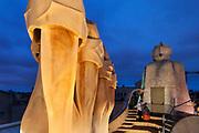 "The rooftop Antoni Gaudi's eponymous ""La Pedrera"" or Casa Milà"