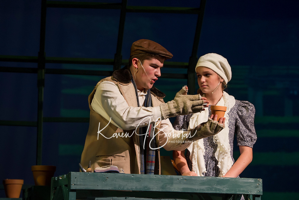 """Riley Alward as Dickon and Cyndal VanSteensburg as Mary during Gilford High School's dress rehearsal for their upcoming musical """"The Secret Garden"""".  (Karen Bobotas/for the Laconia Daily Sun)"""