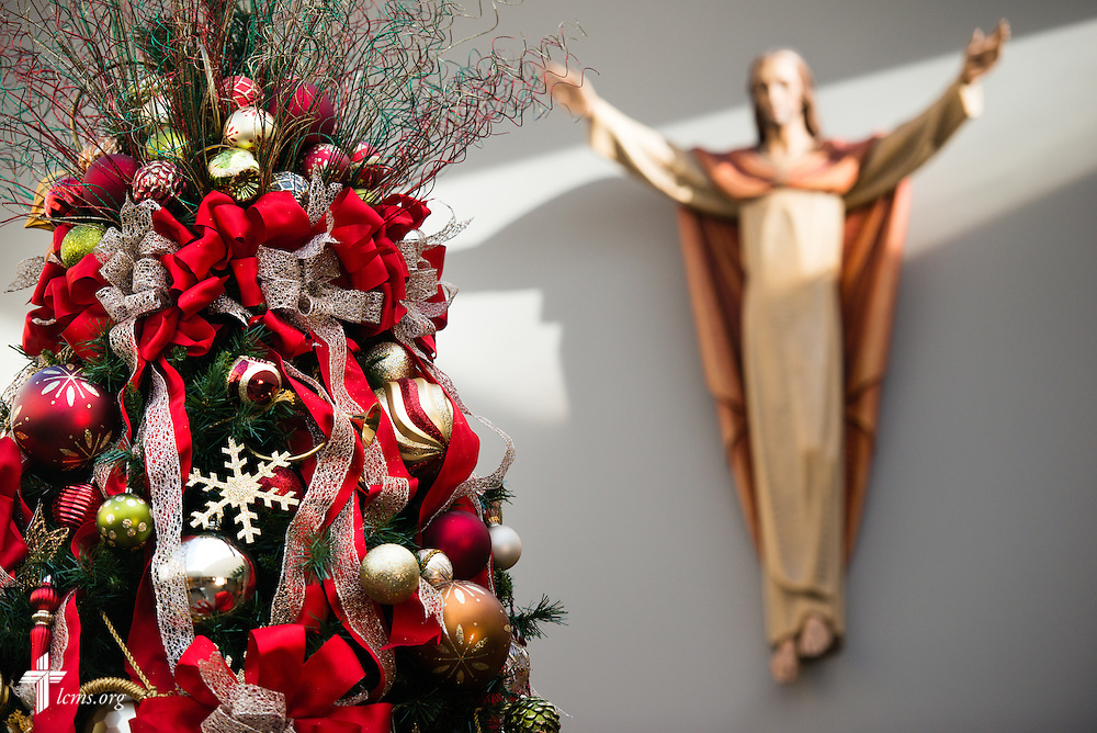 The Christmas tree and a hanging statue depicting Jesus Christ at Peace Lutheran Church on Tuesday, Dec. 8, 2015, in south St. Louis County. LCMS Communications/Erik M. Lunsford