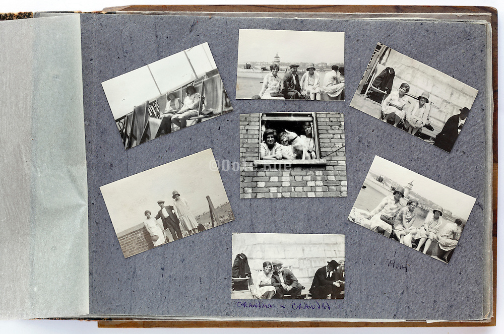 photo album with a  happy moment family and friends gathering 1920s England