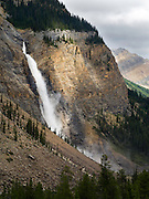View of Takakkaw Falls on an overcast day; Yoho National Park, near Golden, British Columbia, Canada
