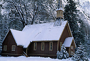 Yosemite, Chapel, Valley Chapel, Church, Yosemite Valley, Winter, Snow, Yosemite National Park, California