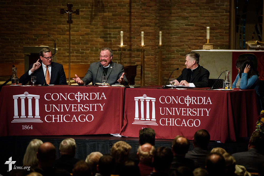 Presenters converse during The Reformation at 500: An Interdenominational Conversation, on Monday, Oct. 30, 2017, at Chapel of Our Lord at Concordia University Chicago in River Forest, Ill. Featured presenters were Cardinal Blase J. Cupich, Archdiocese of Chicago, the Rev. Dr. Matthew C. Harrison, president of the LCMS, and the Rev. Dr. Philip Ryken, president of Wheaton College. The moderator was Manya Brachear Pashman, religion correspondent for the Chicago Tribune. LCMS Communications/Erik M. Lunsford