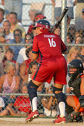 30 June 2004  USA's Lisa Fernandez at bat. Bloomington Lady Hearts vs. USA Olympic Softball Team.  Champion Field #1.  Normal Illinois