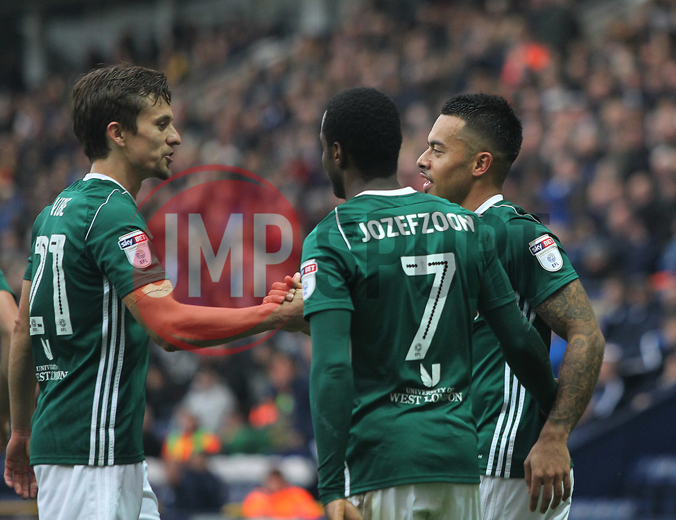 Nico Yennaris of Brentford (R) celebrates after scoring his sides first goal - Mandatory by-line: Jack Phillips/JMP - 28/10/2017 - FOOTBALL - Deepdale - Preston, England - Preston North End v Brentford - Football League Championship