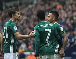 Nico Yennaris of Brentford (R) celebrates after scoring his sides first goal - Mandatory by-line: Jack Phillips/JMP - 28/10/2017 - FOOTBALL - Deepdale - Preston, England - Preston North End v Brentford - Football League Championship