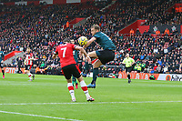 Football - 2019 / 2020 Premier League - Southampton vs. Burnley<br /> <br /> Southampton's Shane Long heads the ball on to the arm of Charlie Taylor of Burnley during the Premier League match at St Mary's Stadium Southampton <br /> <br /> COLORSPORT/SHAUN BOGGUST