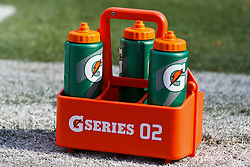 OAKLAND, CA - OCTOBER 21: General view of Gatorade G Series containers on the sidelines before the game between the Oakland Raiders and the Jacksonville Jaguars at O.co Coliseum on October 21, 2012 in Oakland, California. The Oakland Raiders defeated the Jacksonville Jaguars 26-23 in overtime. Photo by Jason O. Watson/Getty Images) *** Local Caption ***