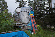 LIVING OFF THE GRID<br /> Water cistern at the Castellani's house.<br /> Anchor Point, Alaska, USA