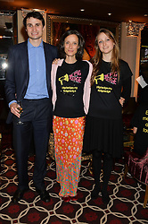 Left to right, the EARL OF GLAMORGAN, his mother the MARCHIONESS OF WORCESTER and LADY BELLA SOMERSET at the Pig Pledge Evening at Club no41, 41 Conduit Street, London on 10th March 2014.