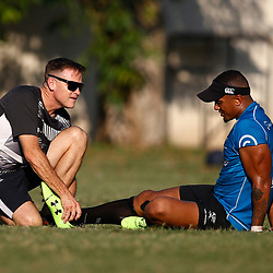 DURBAN, SOUTH AFRICA - MAY 21: Deane Macquet (Physiotherapist) of the Cell C Sharks with Leolin Zas of the Cell C Sharks during the Cell C Sharks training session at Jonsson Kings Park on May 21, 2019 in Durban, South Africa. (Photo by Steve Haag/Gallo Images)