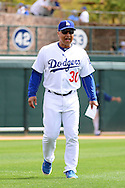 GLENDALE, AZ - MARCH 05:  Manager Dave Roberts #30 of the Los Angeles Dodgers during the spring training game against the Arizona Diamondbacks at Camelback Ranch on March 5, 2016 in Glendale, Arizona.  (Photo by Jennifer Stewart/Getty Images) *** Local Caption *** Dave Roberts