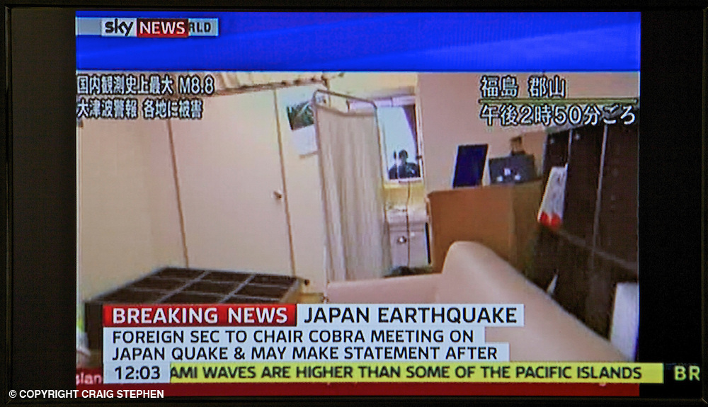 Japan earthquake and tsunami. 11.03.11. Screen grab from United Kingdom television as news emerges from Japan.
