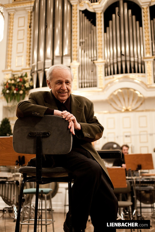 Portrait of the french composer and conductor Pierre Boulez, shot on the stage of the Grand Hall of the international mozart foundation (Mozarteum) in Salzburg. Photo: Wolfgang Lienbacher